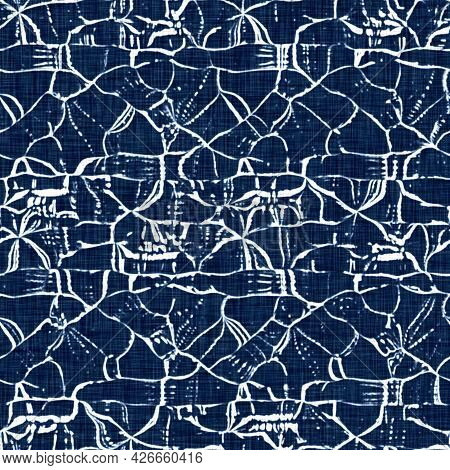 Acid Wash Blue Jean Effect Texture With Decorative Linen Mottled Background. Seamless Denim Textile