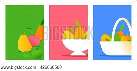 Abstract Sweet Pears And Apples. Seasonal Fruits Composition, Harvest In Wicker Basket. Minimal Styl