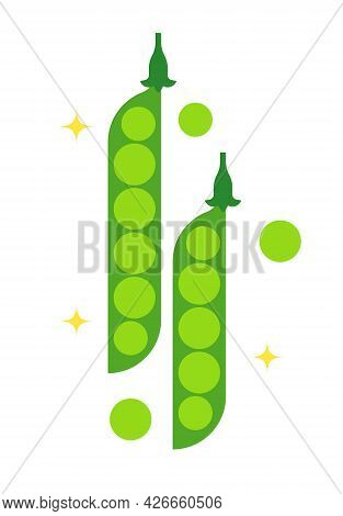 Abstract Sweet Green Pea. Isolated Green Pods. Top View. Abstract Geometric Vegetable On White Backg