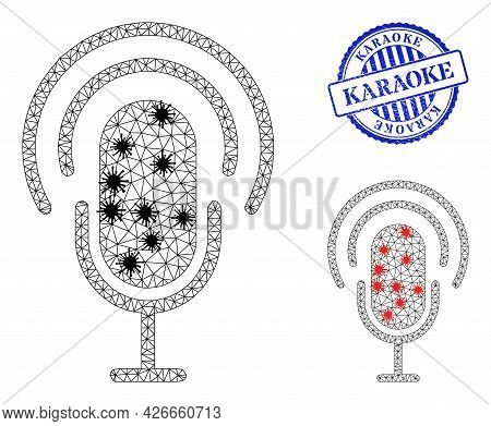 Mesh Polygonal Podcast Icons Illustration With Infection Style, And Scratched Blue Round Karaoke Sea