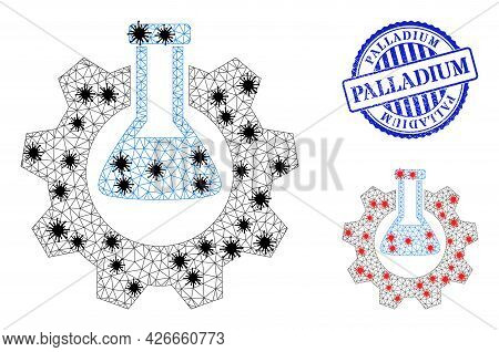 Mesh Polygonal Chemical Industry Symbols Illustration In Infection Style, And Rubber Blue Round Pall