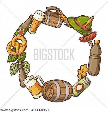 Frame For Beer Festival Or Oktoberfest. Background For Pub Or Bar Menu And Flyers.