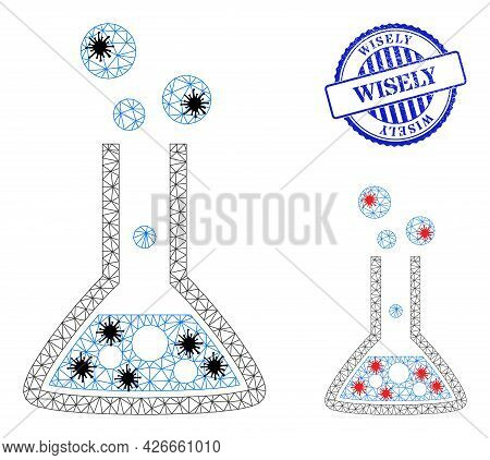 Mesh Polygonal Reaction Flask Symbols Illustration In Infection Style, And Grunge Blue Round Wisely