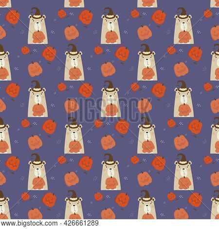 Seamless Pattern With Halloween Bear. Cute Animal In Witch Hat With A Pumpkin Jack On Purple Backgro