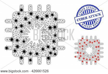 Mesh Polygonal Infected Chip Icons Illustration In Outbreak Style, And Scratched Blue Round Cyber At