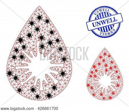 Mesh Polygonal Infected Blood Drop Icons Illustration In Infection Style, And Rubber Blue Round Unwe