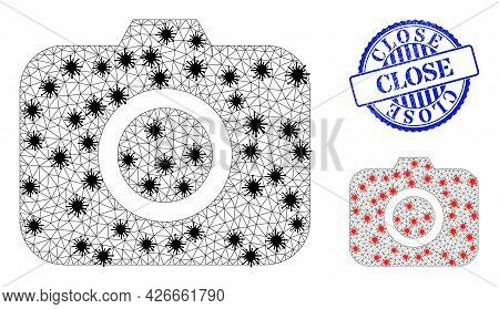 Mesh Polygonal Photocamera Icons Illustration With Infection Style, And Rubber Blue Round Close Badg