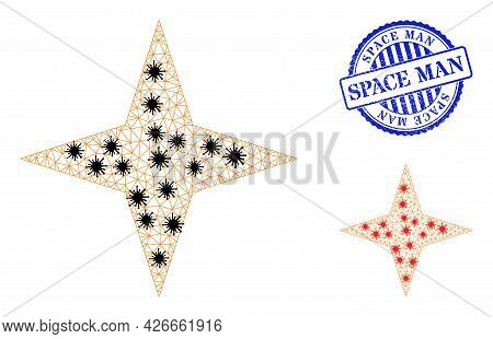 Mesh Polygonal Space Star Symbols Illustration In Infection Style, And Scratched Blue Round Space Ma
