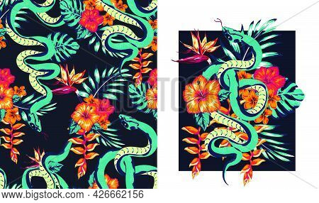 Set Of Illustration Of A Snake And Flowers, Abstraction Pattern For Printing On Paper, Postcards, Ba
