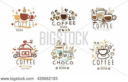 Sweet Chocolate And Coffee Logo Original Design Vector Set