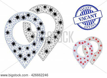 Mesh Polygonal Map Markers Icons Illustration In Infection Style, And Grunge Blue Round Vacant Stamp