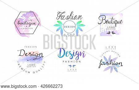 Fashion Luxury Boutique Logo Watercolor Design Vector Set