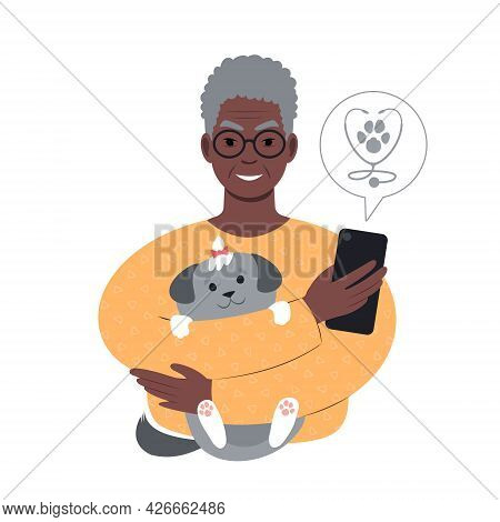 Senior African Man With A Tiny Dog Searching For Veterinarian Online From Smartphone.