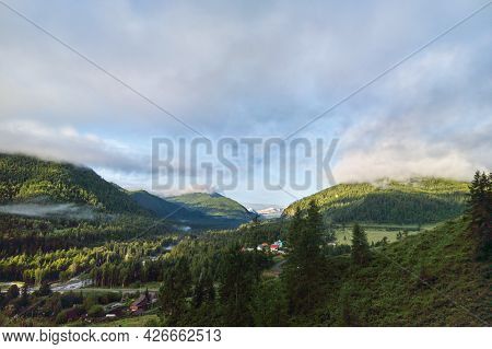 Vacation Landscape. Russian Altai Mountains. Multa Region. Holiday At Home. Staycation Concept. Long