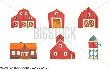 Farm Building And Construction With Timbered Red Barn And Water Tower Vector Set