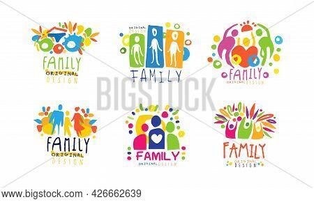 Colorful Family Label Or Emblem Original Design Vector Set