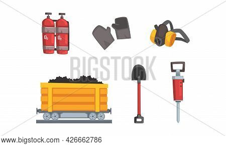 Coal And Ore Mining Industry With Rail Trolley And Shovel Vector Set