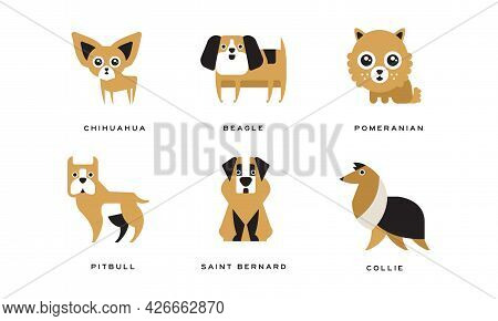 Dog Breeds Depicted In Flat Style With Chihuahua And Beagle Vector Set