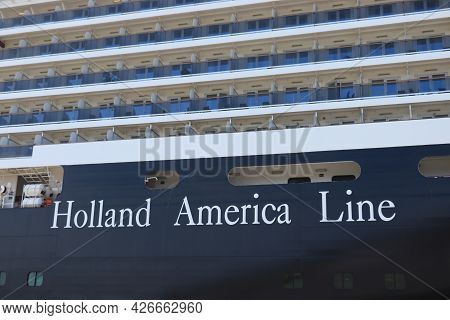 Ijmuiden, The Netherlands - July 8th 2021: Holland America Line Oosterdam, Detail Of Hull