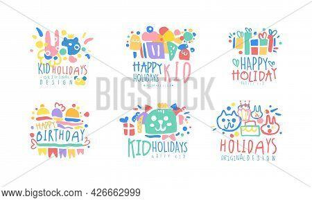 Happy Birthday And Kids Holiday Original Design Vector Set