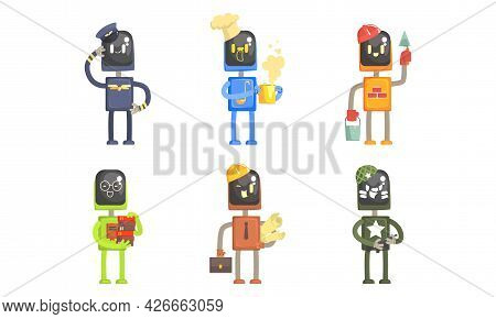 Robot Of Different Professions Set, Pilot, Cook, Builder, Librarian, Architect, Soldier Cartoon Vect