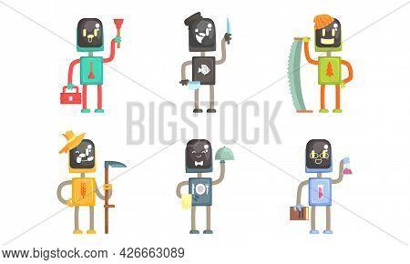 Robot Of Different Professions Set, Plumber, Farmer, Cook, Lumberjack, Waiter, Scientist Cartoon Vec