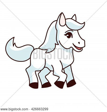 Foal. Vector Illustration Of A Small Horse, Pony. Transparent Background. Cute Cartoon Style For Kid