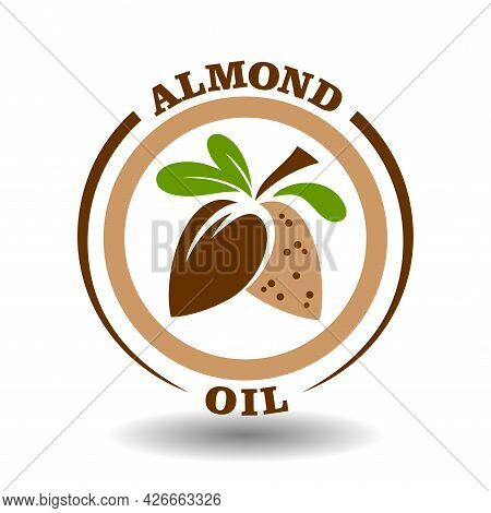 Simple Circle Logo Almond Oil With Round Half Cut Nut Shells Icon And Green Leaves Symbol For Labeli