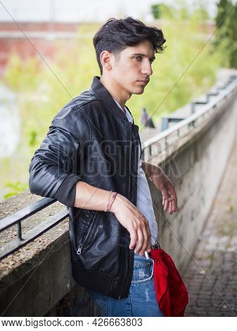 Handsome Stylish Young Man Outside Wearing Black Leather Jacket