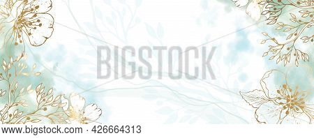 Luxurious Golden Wallpaper. Banner With White Background Blue And Green Watercolor Stains. Golden Ch