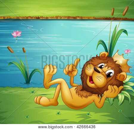 Illustration of a lion with a crown in the riverbank
