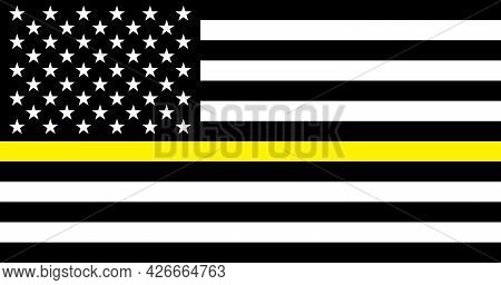 Thin Yellow Line Security Personnel Flag. Usa Flag. Security Personnel Of The Usa Flat Flag. Banner