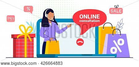 Customer Support Concept Illustration Of Professional Operator Support Communication Help Personal A