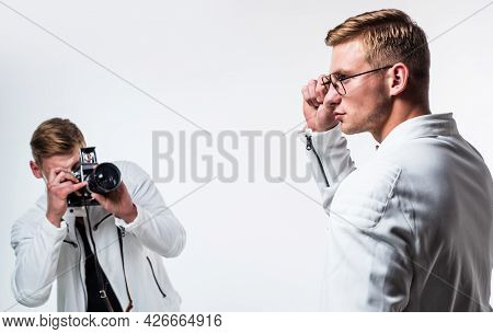 Twins Brother In White. Photographing. Beauty And Fashion. Similar Appearance. Male Friendship