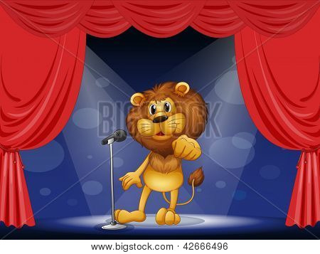 Illustration of a lion standing in the limelight