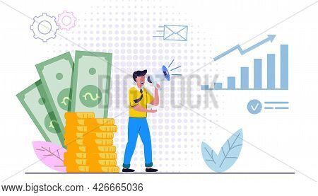 Career Development Concept Flat Vector Illustration Business Concept Investment And Analysis Money C