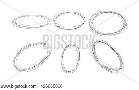 Highlight Circle Scribble Frame - Ink Pen Scrawl Oval Border For Emphasis And Highlighting Text Or I