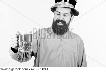 Everyones Irish On St Patricks Day. Irish Man With Beard Drinking Green Beer. Bearded Man Toasting T