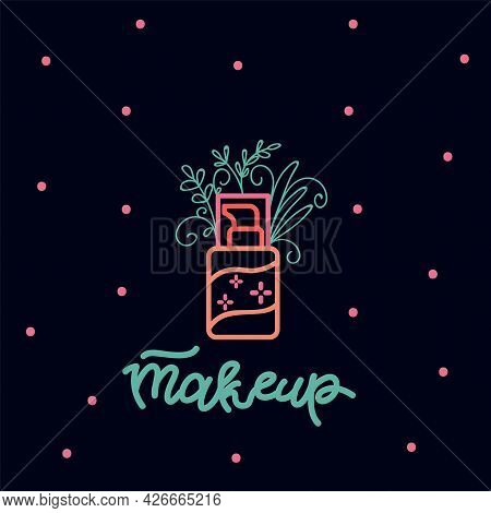 Poster With Doodle Makeup Tools. Illustration Of A Cream In A Jar In Nature. A Poster For A Spa And