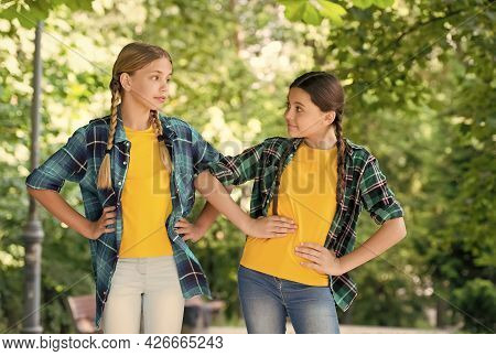 Little Children With Vogue Look Pose In Casual Fashion Style Summer Outdoors, Fashionistas