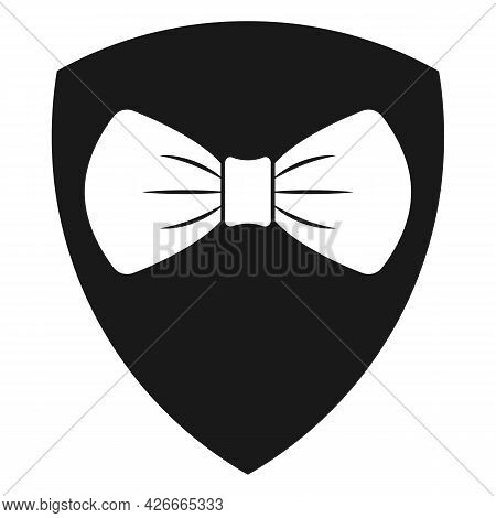 Bow Tie White Symbol On Black Shield Sign. Gentlemen Bodyguard Company Logo Concept. Vector Illustra