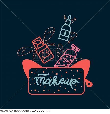 Poster With Makeup Tools. Illustration Of Care Cosmetics With A Purse. A Poster For A Spa And Beauty