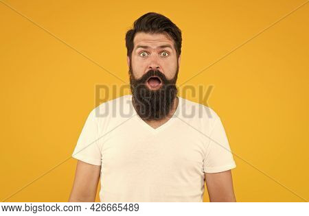 Surprised Face Expression Bearded Man Yellow Background, Shocking News Concept