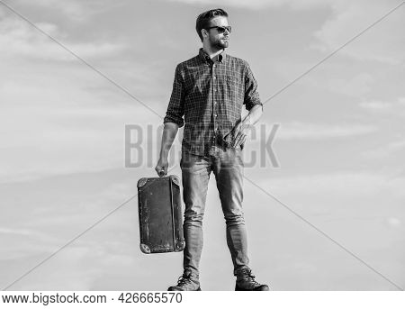 Vacation Time. Travel Agency. Business Trip. Handsome Guy Traveler. Travel With Luggage. Guy Outdoor