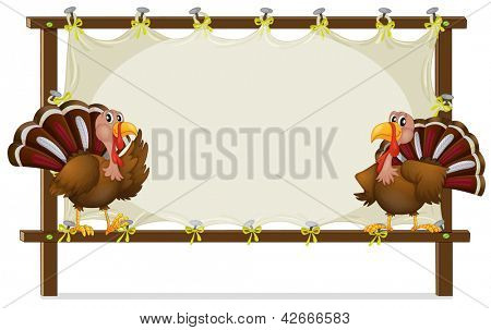 Illustration of the two turkeys on a white background