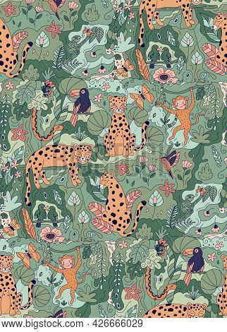 Jungle Seamless Pattern With Doodle Animals. Hand Drawn Leopards, Parrots, Toucan, Chameleon, Snake