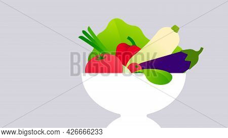 Fresh Vegetables In White Bowl. Fresh Lettuce, Zucchini, Tomatoes, Paprika, Eggplant, Onion. Minimal