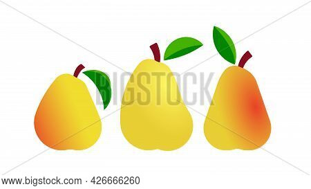 Yellow Pears Different Shapes. Minimal Style Seasonal Fruits. Abstract Illustration For Print, Cover