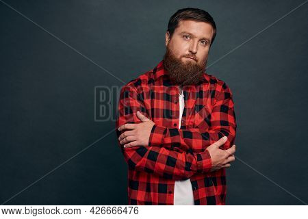 Motivation, People And Emotions Concept. Serious-looking Determined Handsome Young Guy With Beard In