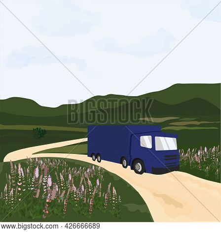Cargo Truck With Container Vector Stock Illustration. Semi-truck With Cargo Trailer.  A Summer Card
